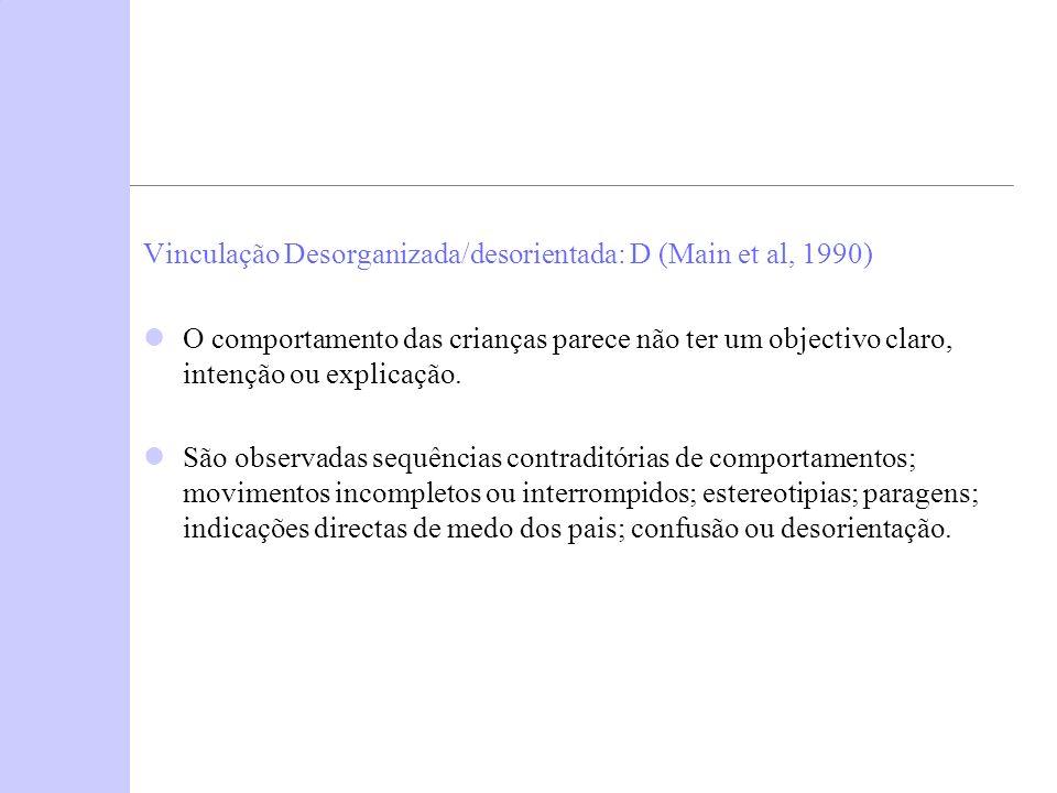 Vinculação Desorganizada/desorientada: D (Main et al, 1990)