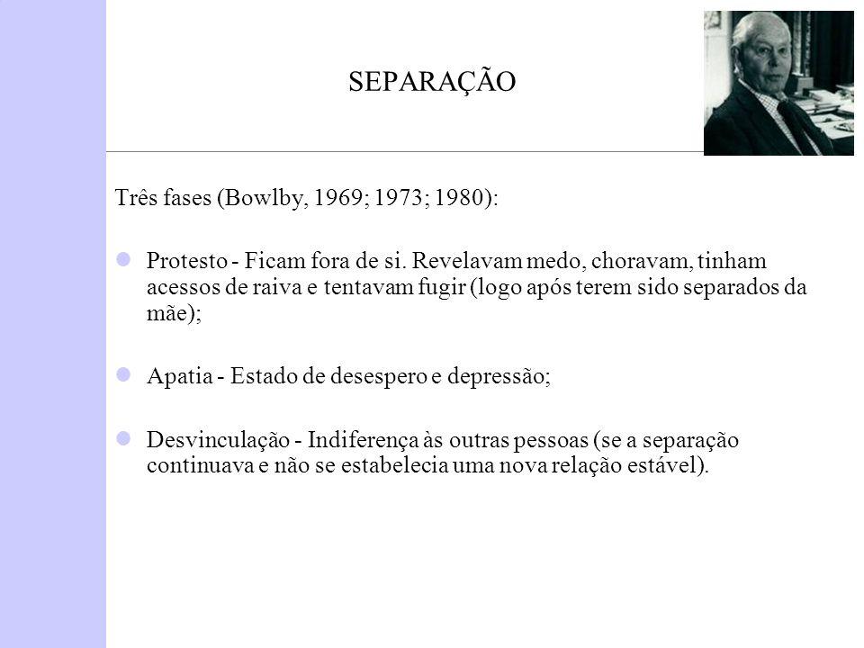 SEPARAÇÃO Três fases (Bowlby, 1969; 1973; 1980):