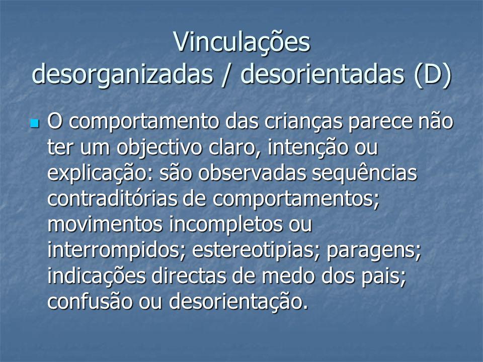 Vinculações desorganizadas / desorientadas (D)