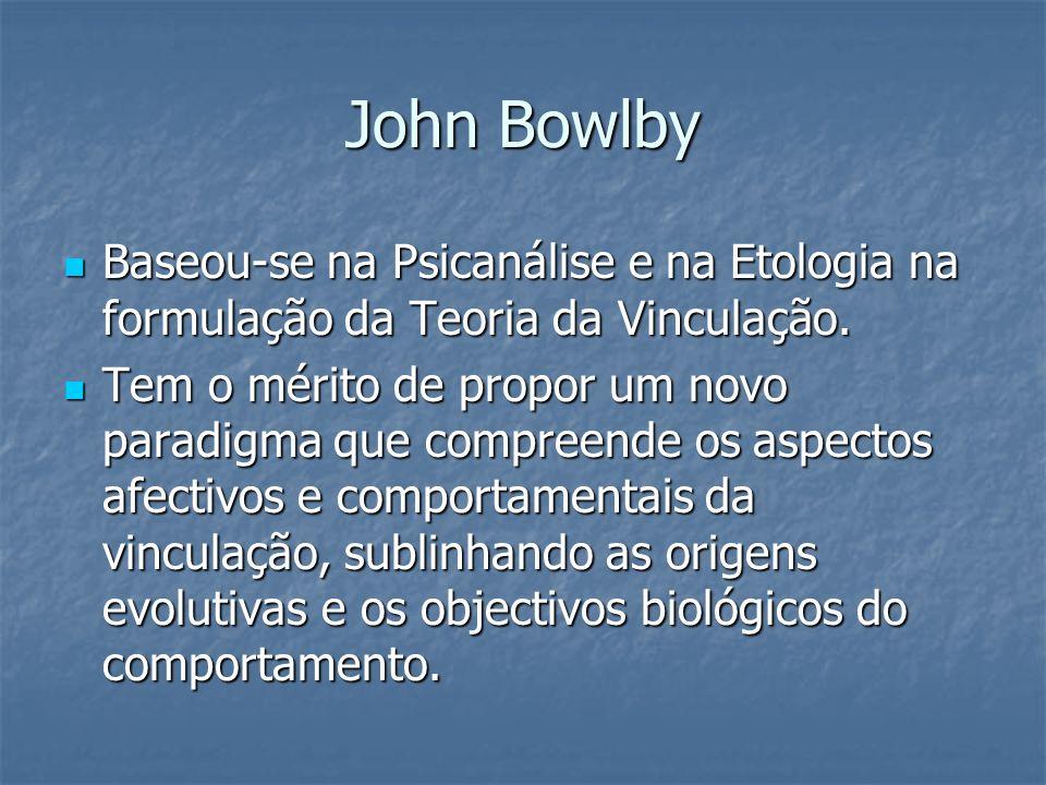 John Bowlby Baseou-se na Psicanálise e na Etologia na formulação da Teoria da Vinculação.