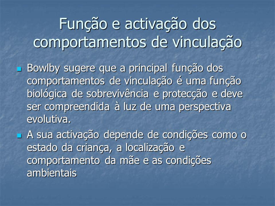 Função e activação dos comportamentos de vinculação