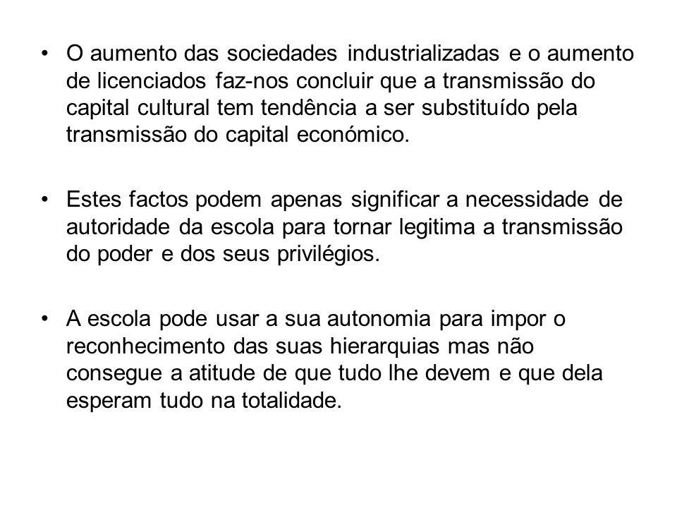 O aumento das sociedades industrializadas e o aumento de licenciados faz-nos concluir que a transmissão do capital cultural tem tendência a ser substituído pela transmissão do capital económico.
