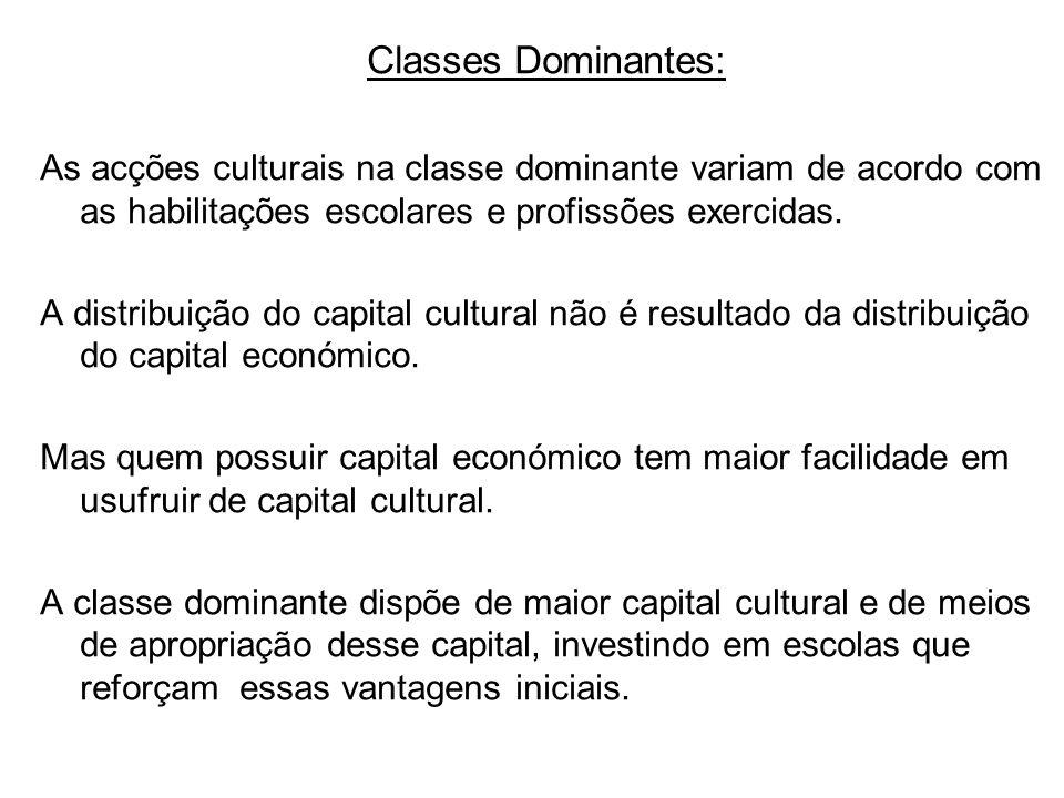 Classes Dominantes: As acções culturais na classe dominante variam de acordo com as habilitações escolares e profissões exercidas.