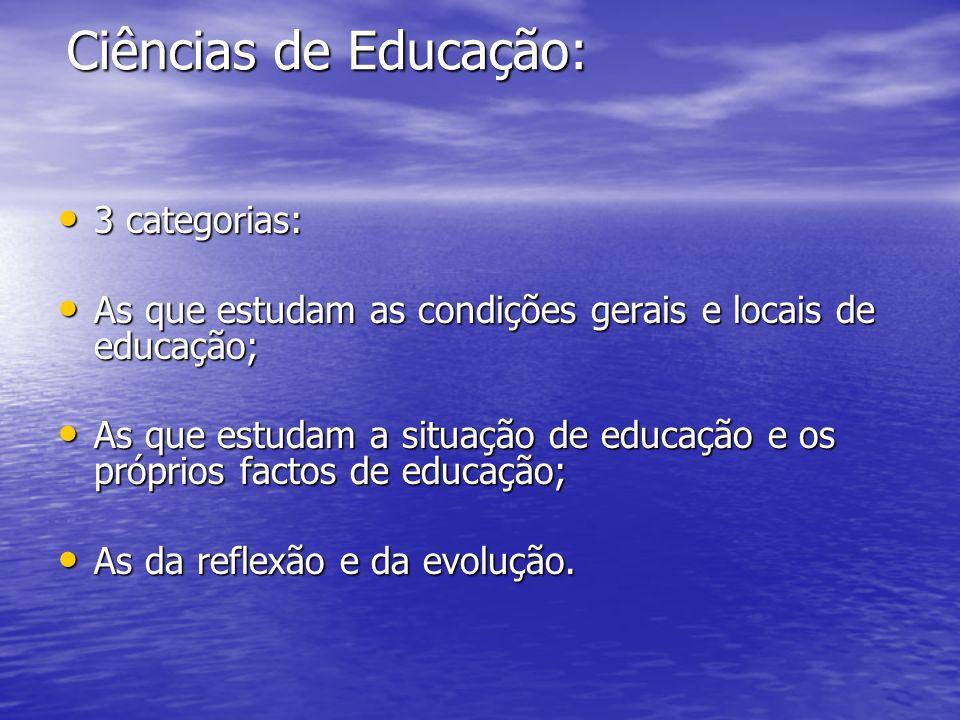 Ciências de Educação: 3 categorias: