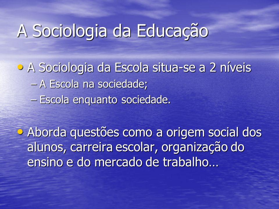 A Sociologia da Educação