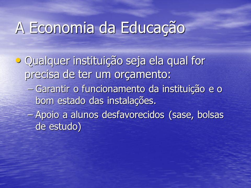 A Economia da Educação Qualquer instituição seja ela qual for precisa de ter um orçamento: