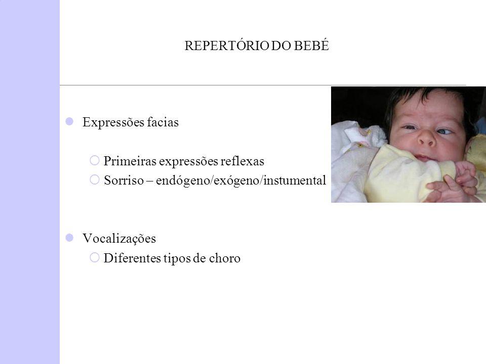 REPERTÓRIO DO BEBÉ Expressões facias. Primeiras expressões reflexas. Sorriso – endógeno/exógeno/instumental.