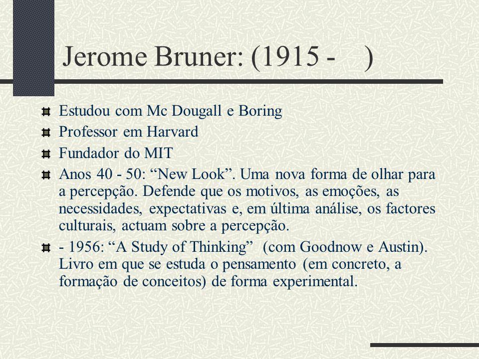 Jerome Bruner: (1915 - ) Estudou com Mc Dougall e Boring