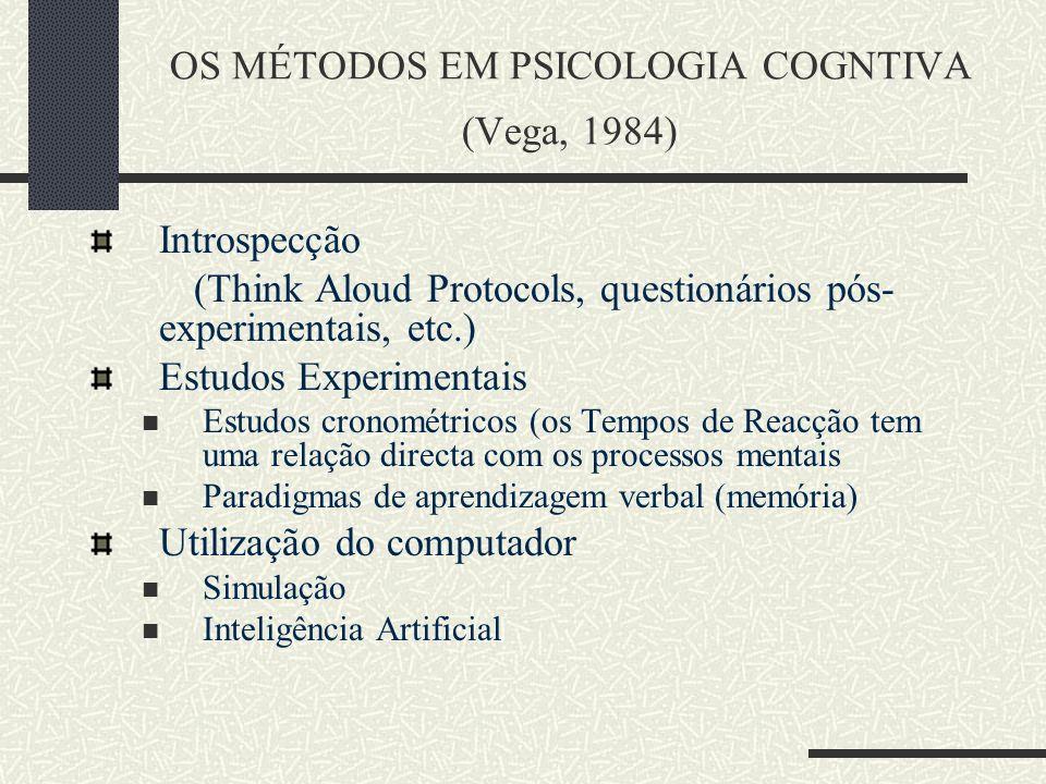 OS MÉTODOS EM PSICOLOGIA COGNTIVA (Vega, 1984)