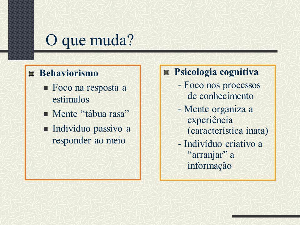 O que muda Behaviorismo Foco na resposta a estímulos