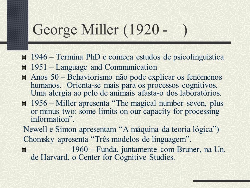 George Miller (1920 - ) 1946 – Termina PhD e começa estudos de psicolinguística. 1951 – Language and Communication.