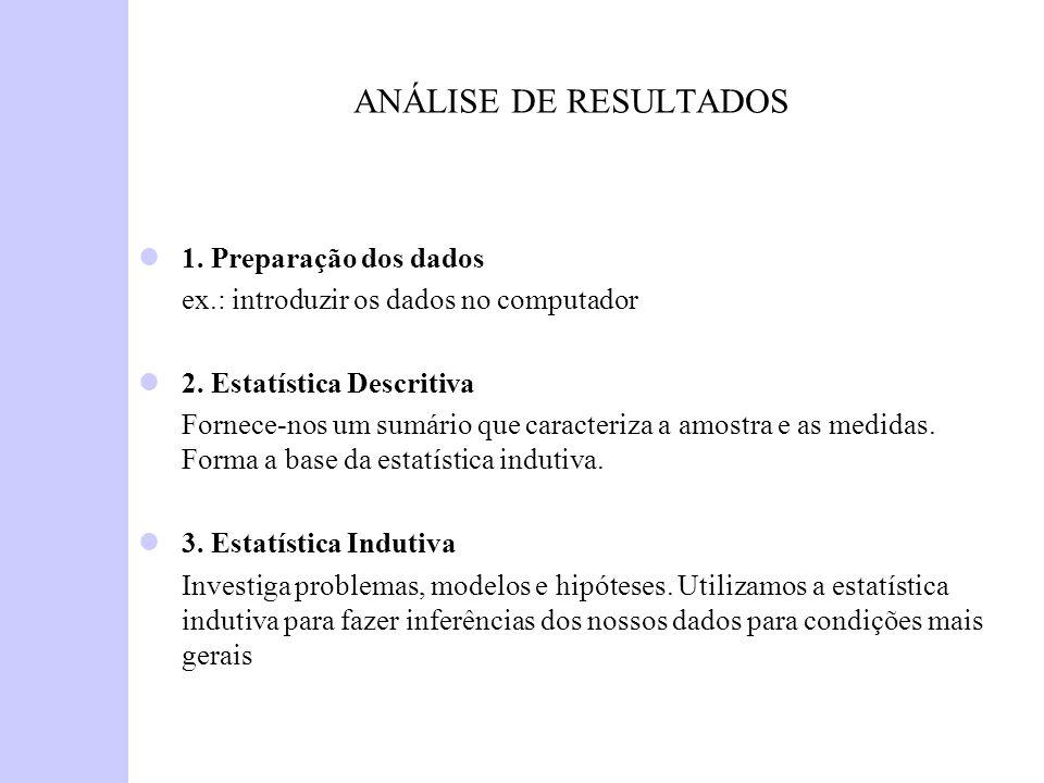 ANÁLISE DE RESULTADOS 1. Preparação dos dados