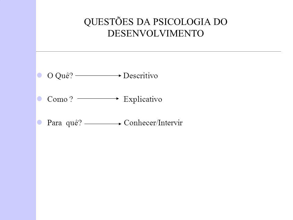 QUESTÕES DA PSICOLOGIA DO DESENVOLVIMENTO