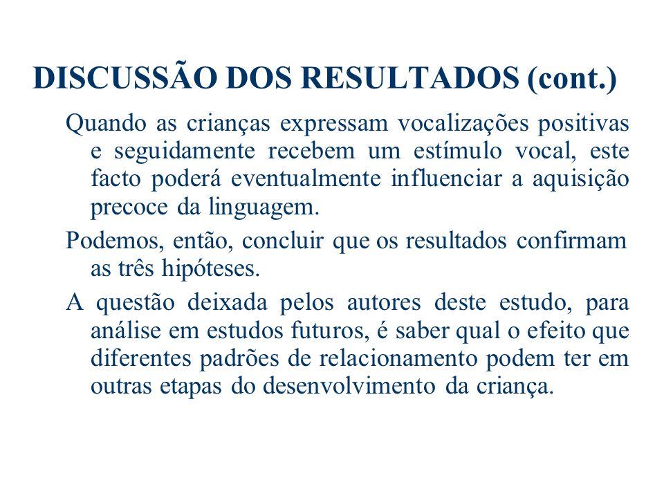 DISCUSSÃO DOS RESULTADOS (cont.)