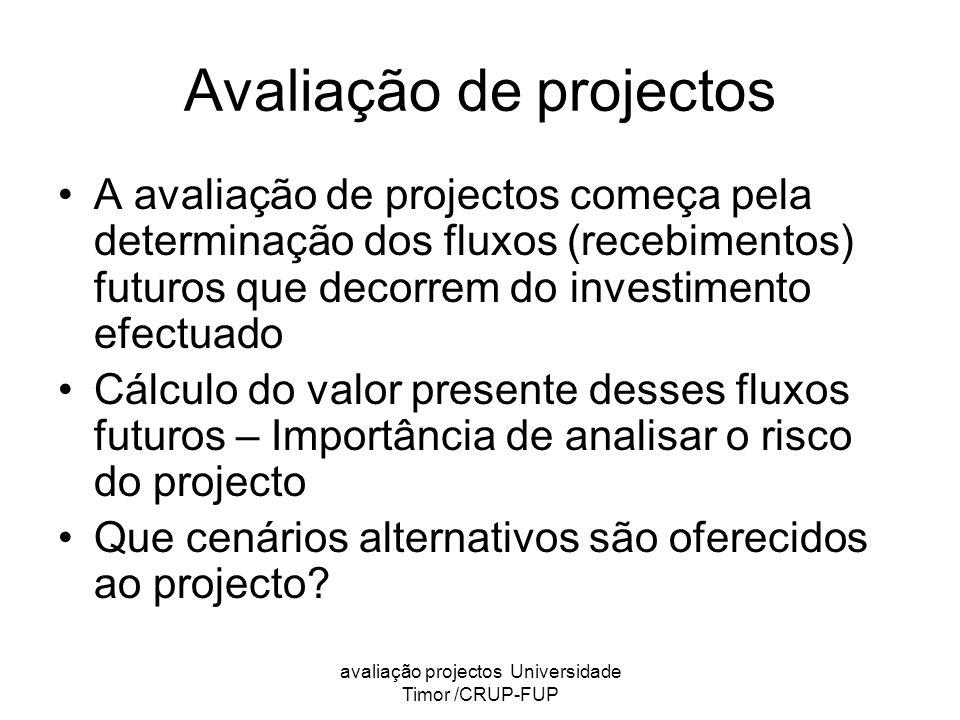 Avaliação de projectos