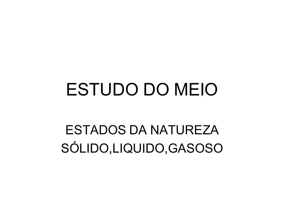 ESTADOS DA NATUREZA SÓLIDO,LIQUIDO,GASOSO