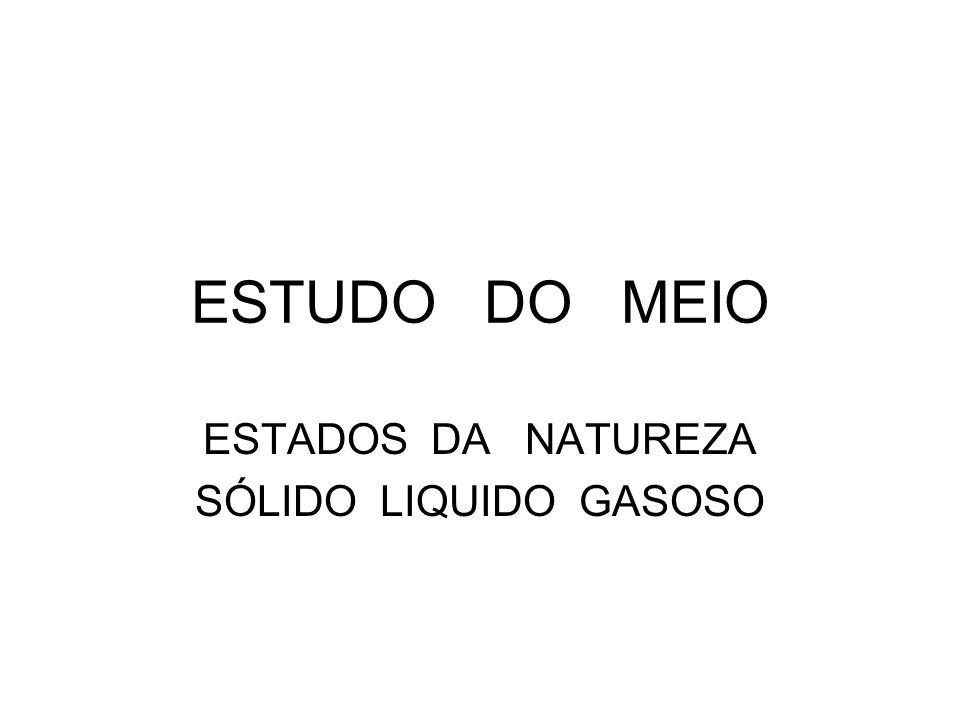ESTADOS DA NATUREZA SÓLIDO LIQUIDO GASOSO