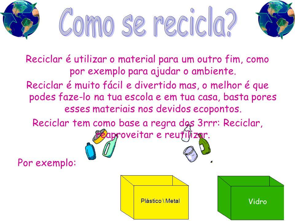 Como se recicla Reciclar é utilizar o material para um outro fim, como por exemplo para ajudar o ambiente.