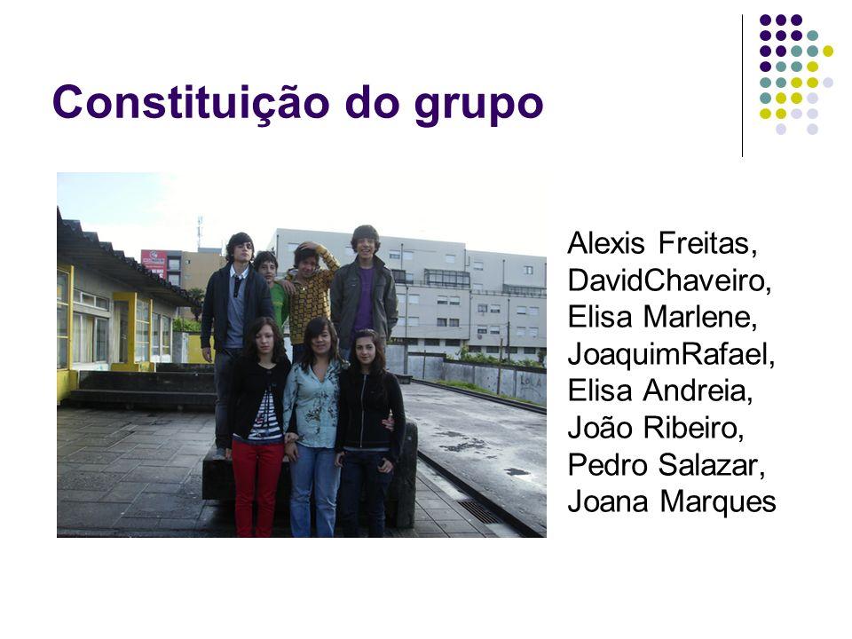 Constituição do grupo Alexis Freitas, DavidChaveiro, Elisa Marlene, JoaquimRafael, Elisa Andreia, João Ribeiro, Pedro Salazar, Joana Marques.