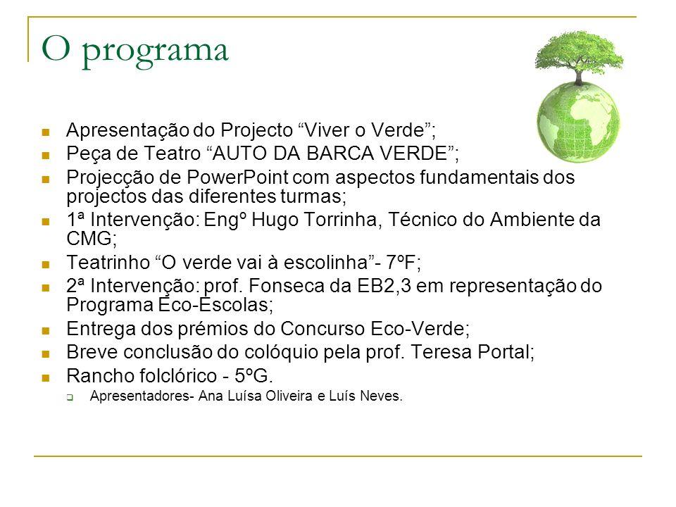 O programa Apresentação do Projecto Viver o Verde ;