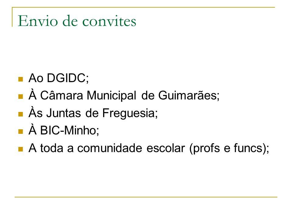 Envio de convites Ao DGIDC; À Câmara Municipal de Guimarães;