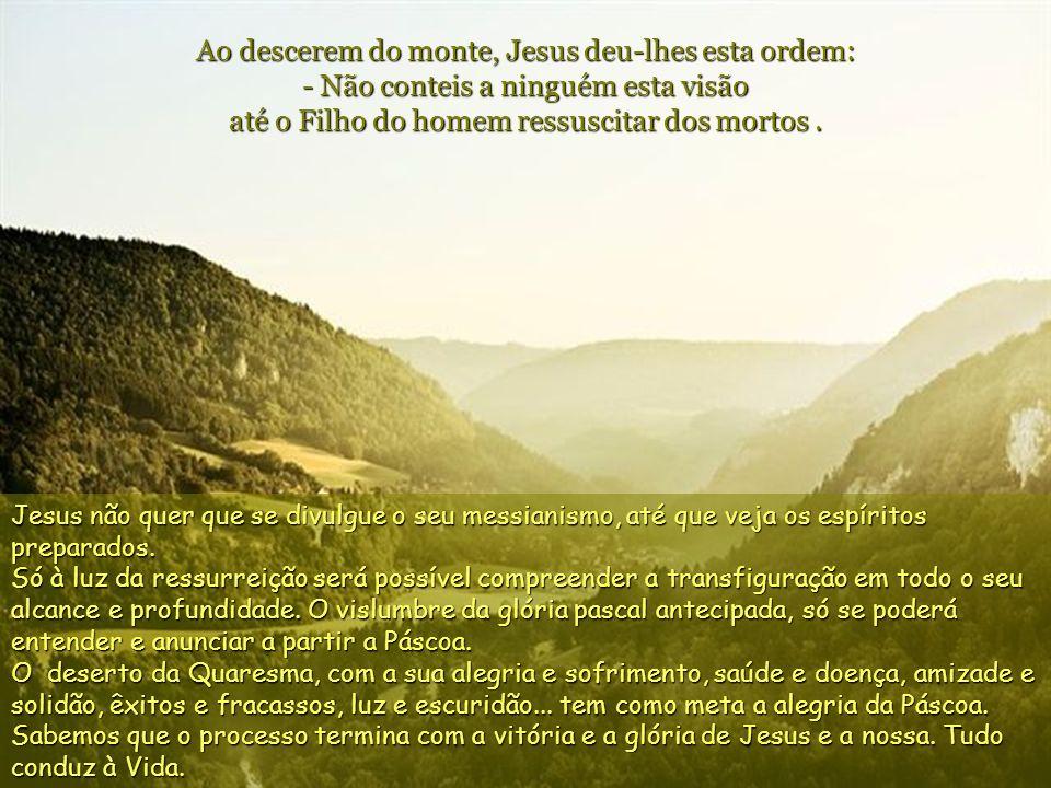 Ao descerem do monte, Jesus deu-lhes esta ordem: - Não conteis a ninguém esta visão até o Filho do homem ressuscitar dos mortos .