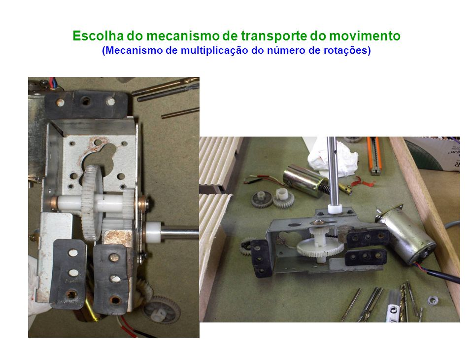 Escolha do mecanismo de transporte do movimento (Mecanismo de multiplicação do número de rotações)
