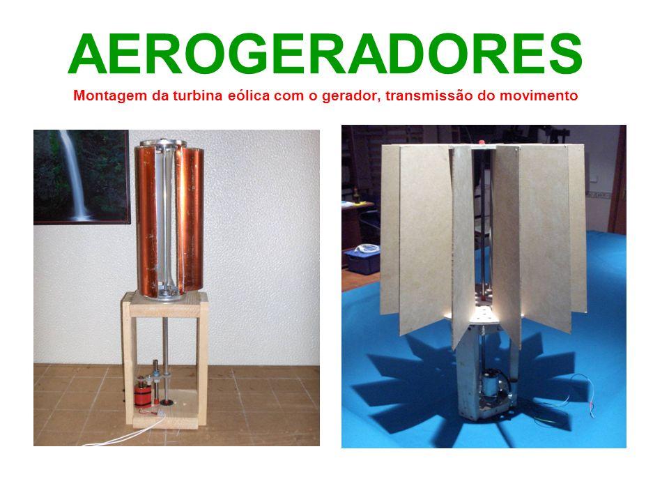 AEROGERADORES Montagem da turbina eólica com o gerador, transmissão do movimento