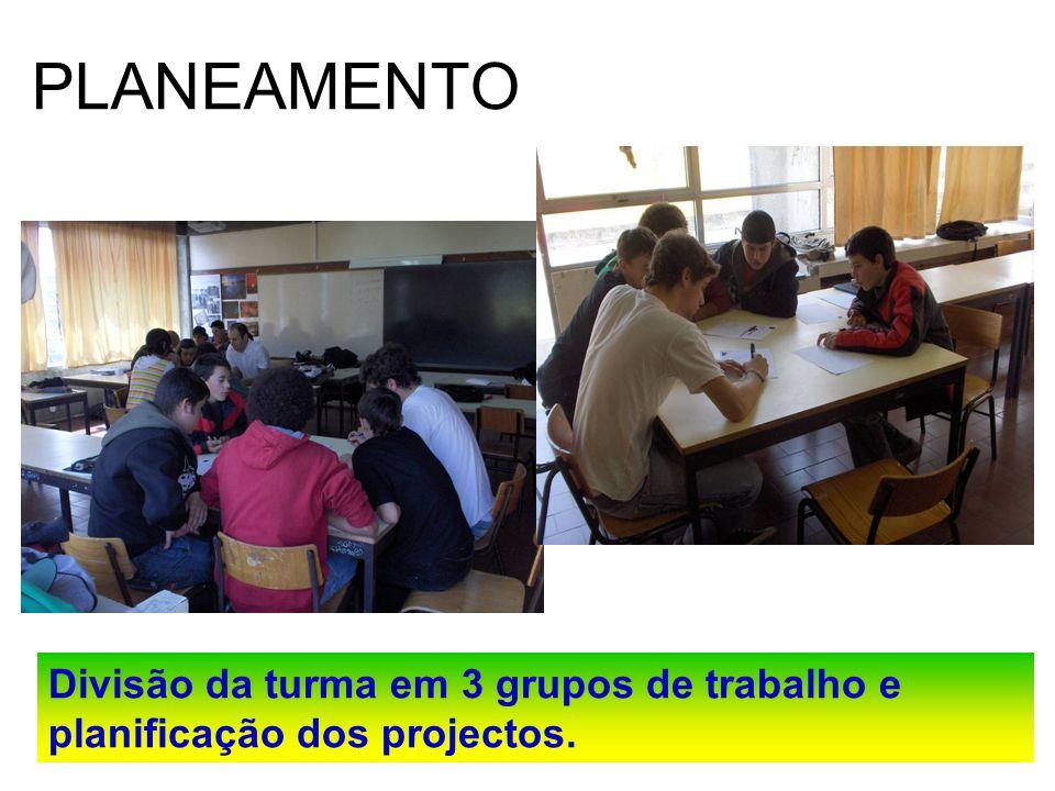 PLANEAMENTO Divisão da turma em 3 grupos de trabalho e planificação dos projectos.