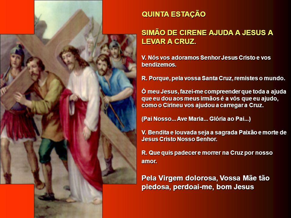 SIMÃO DE CIRENE AJUDA A JESUS A LEVAR A CRUZ.