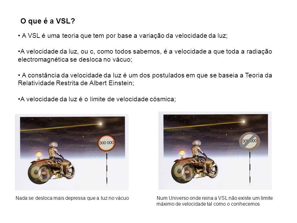 O que é a VSL A VSL é uma teoria que tem por base a variação da velocidade da luz;
