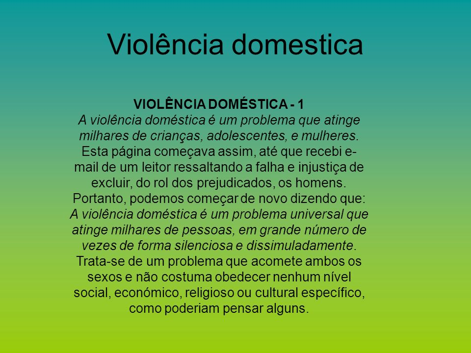 Violência domestica VIOLÊNCIA DOMÉSTICA - 1