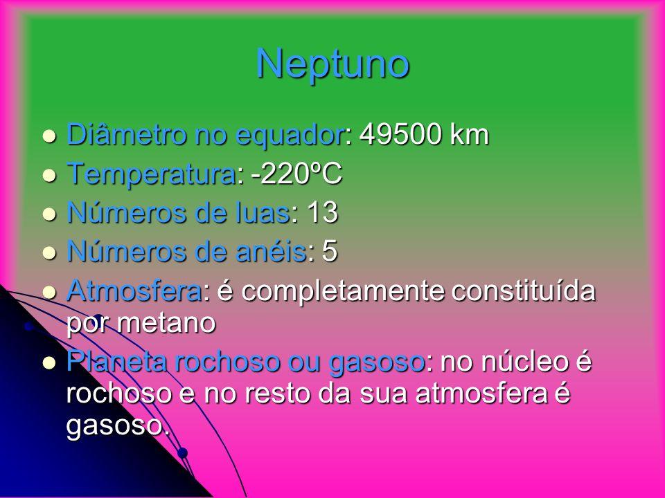 Neptuno Diâmetro no equador: 49500 km Temperatura: -220ºC