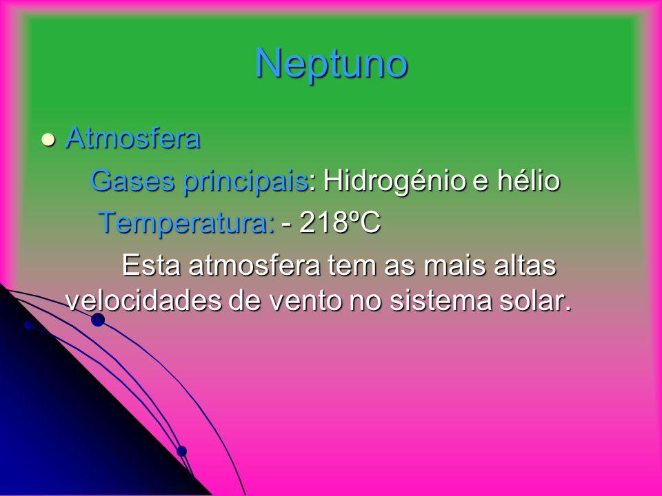 Neptuno Atmosfera Gases principais: Hidrogénio e hélio