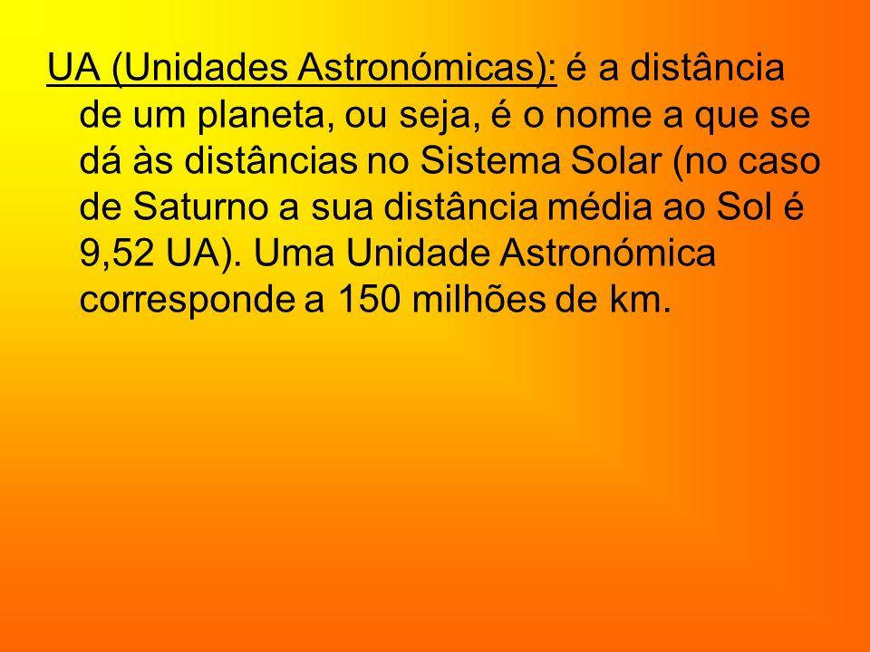 UA (Unidades Astronómicas): é a distância de um planeta, ou seja, é o nome a que se dá às distâncias no Sistema Solar (no caso de Saturno a sua distância média ao Sol é 9,52 UA).