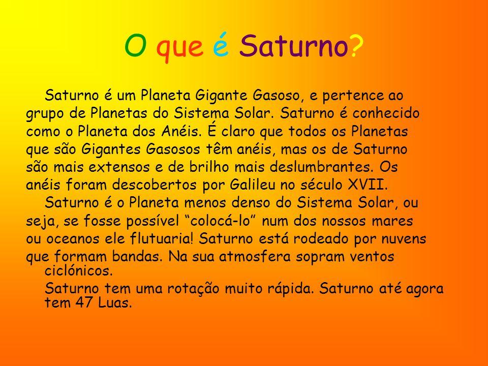 O que é Saturno Saturno é um Planeta Gigante Gasoso, e pertence ao. grupo de Planetas do Sistema Solar. Saturno é conhecido.