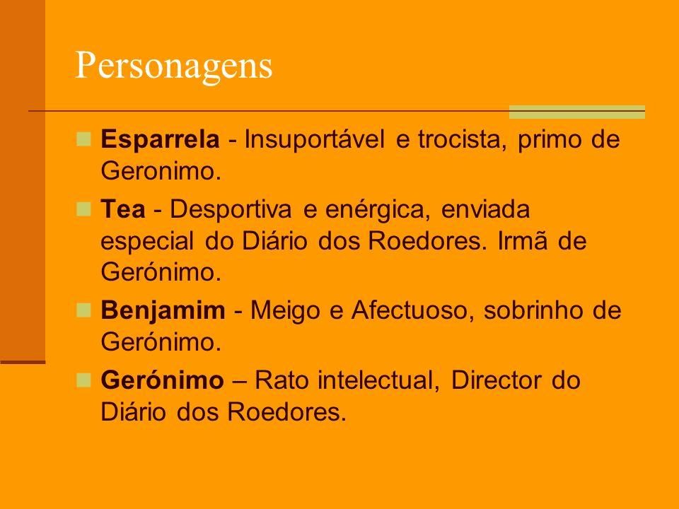 Personagens Esparrela - Insuportável e trocista, primo de Geronimo.