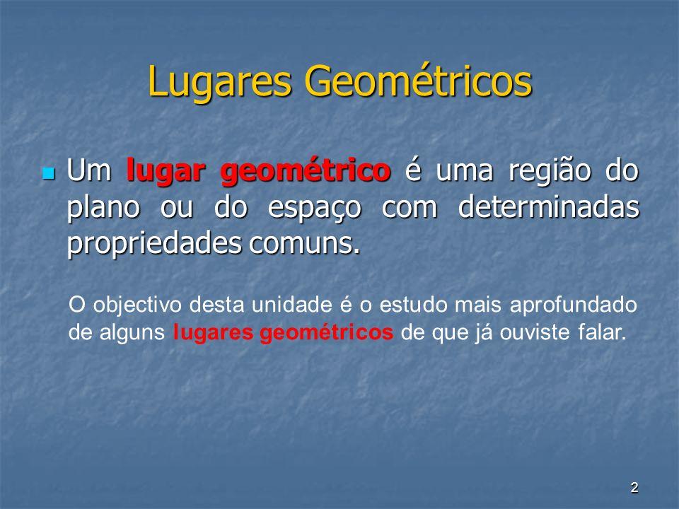 Lugares Geométricos Um lugar geométrico é uma região do plano ou do espaço com determinadas propriedades comuns.