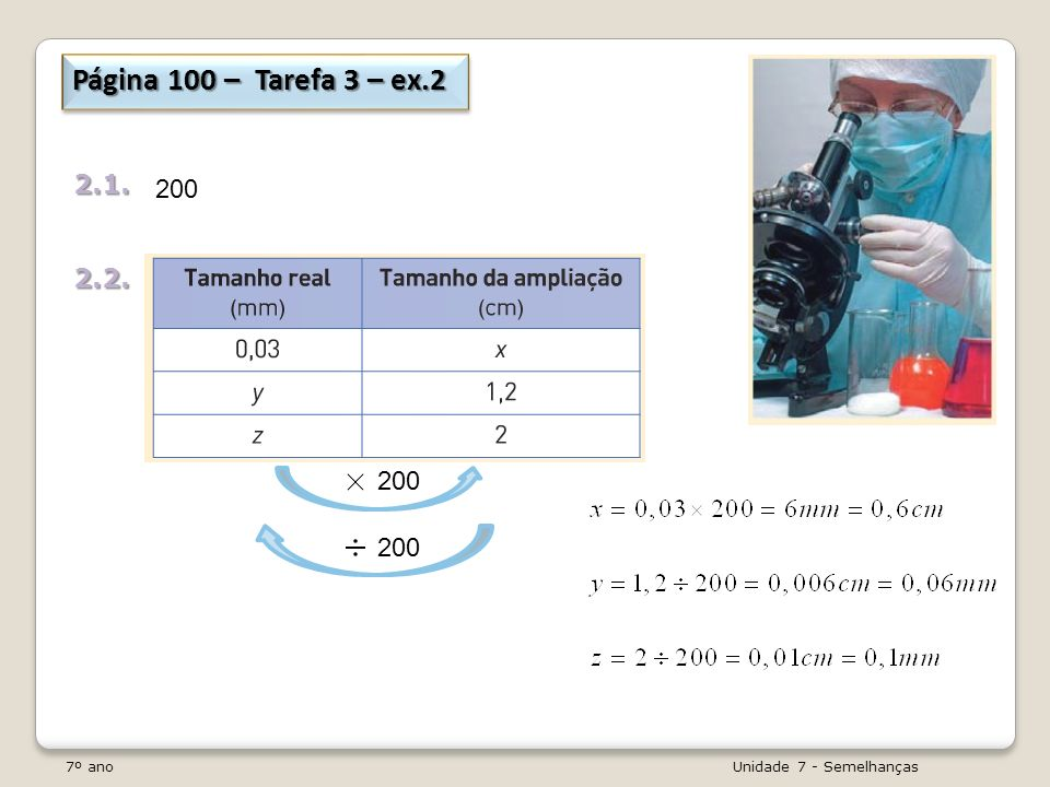 Página 100 – Tarefa 3 – ex.2 2.1. 2.2. 200. 200. 200.