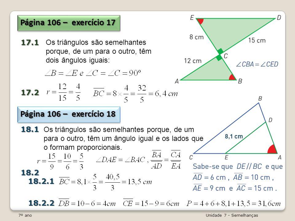 Página 106 – exercício 17 Página 106 – exercício 18 17.1