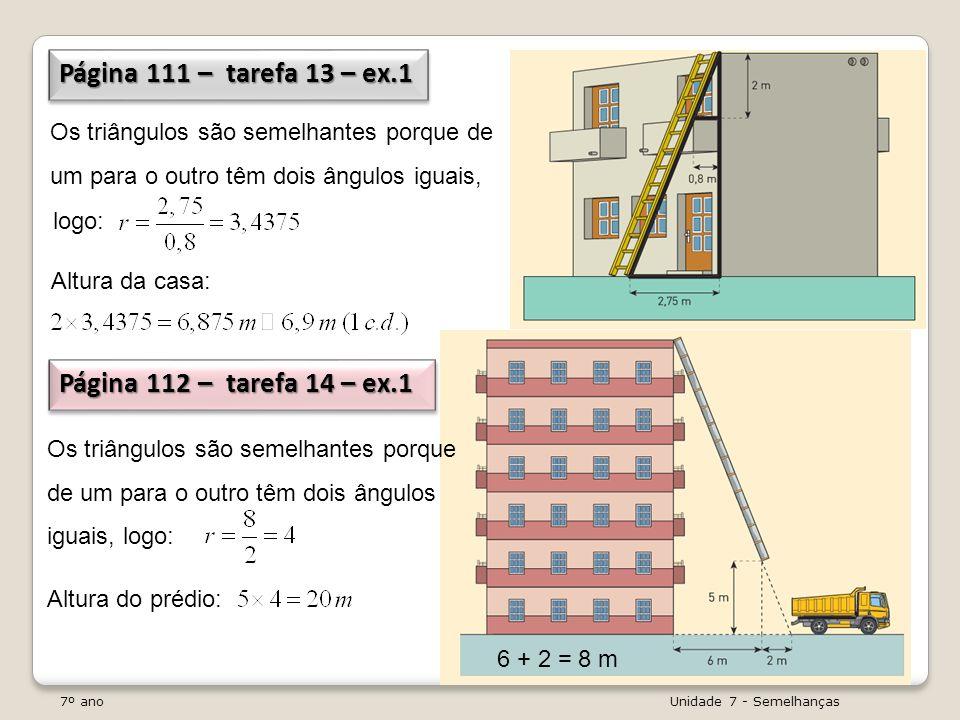 Página 111 – tarefa 13 – ex.1 Página 112 – tarefa 14 – ex.1