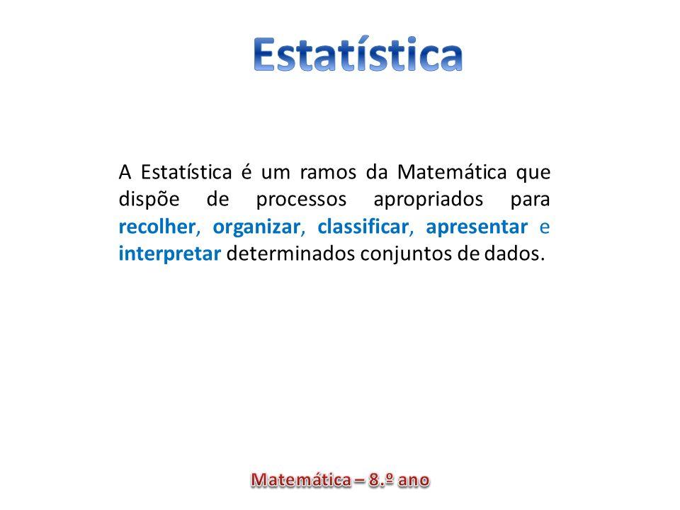A Estatística é um ramos da Matemática que dispõe de processos apropriados para recolher, organizar, classificar, apresentar e interpretar determinados conjuntos de dados.