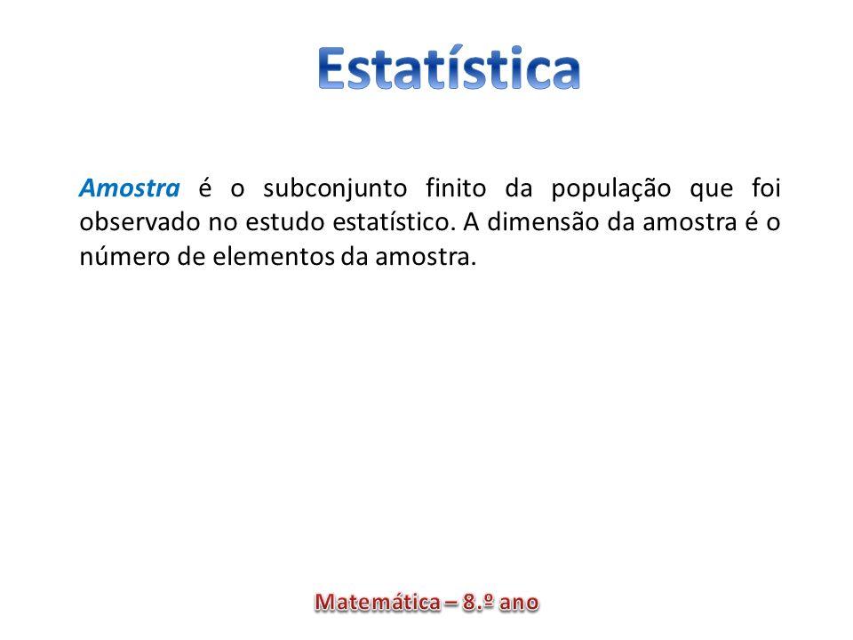 Amostra é o subconjunto finito da população que foi observado no estudo estatístico.