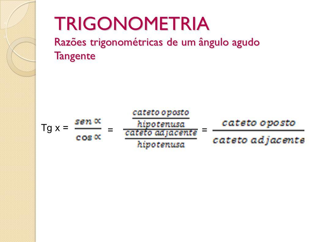 TRIGONOMETRIA Razões trigonométricas de um ângulo agudo Tangente