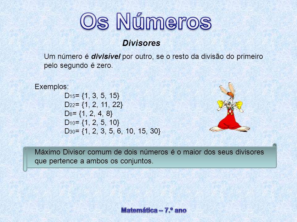 Divisores Um número é divisível por outro, se o resto da divisão do primeiro pelo segundo é zero. Exemplos: