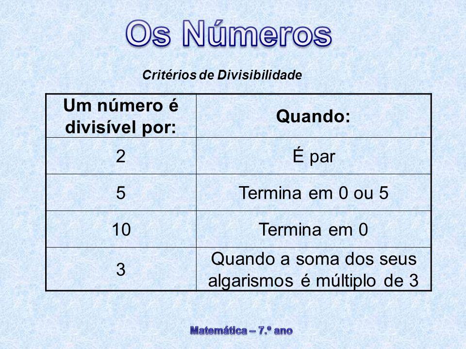 Critérios de Divisibilidade Um número é divisível por: