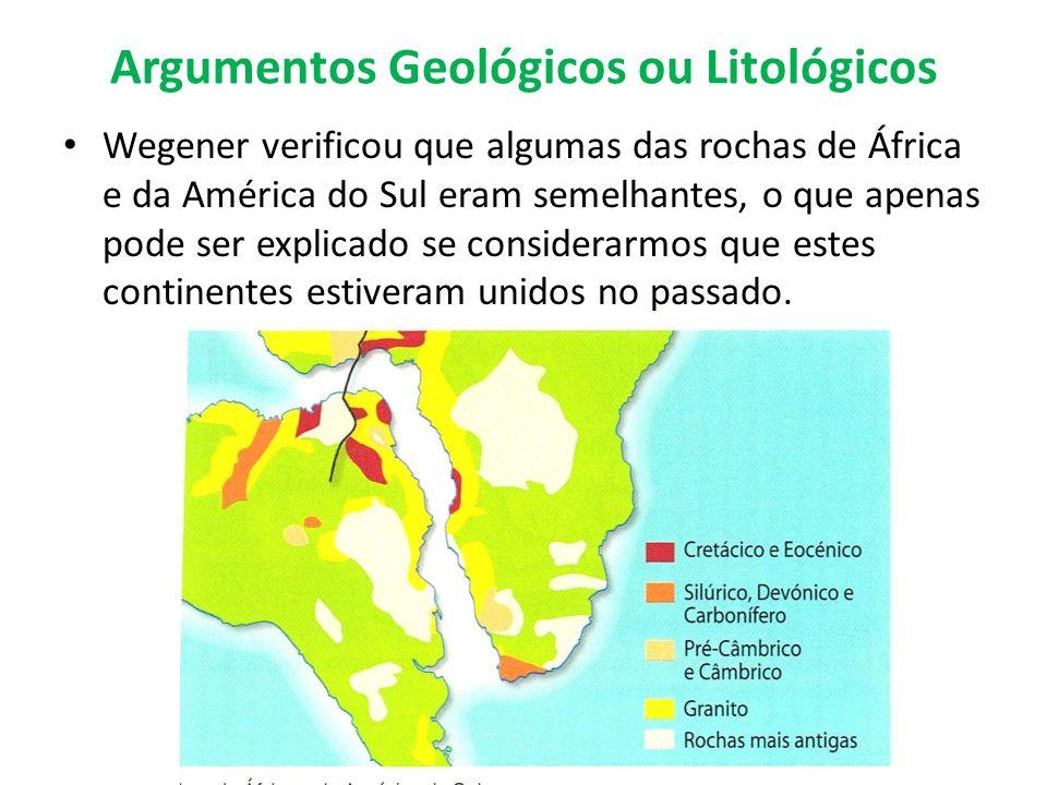 Argumentos Geológicos ou Litológicos