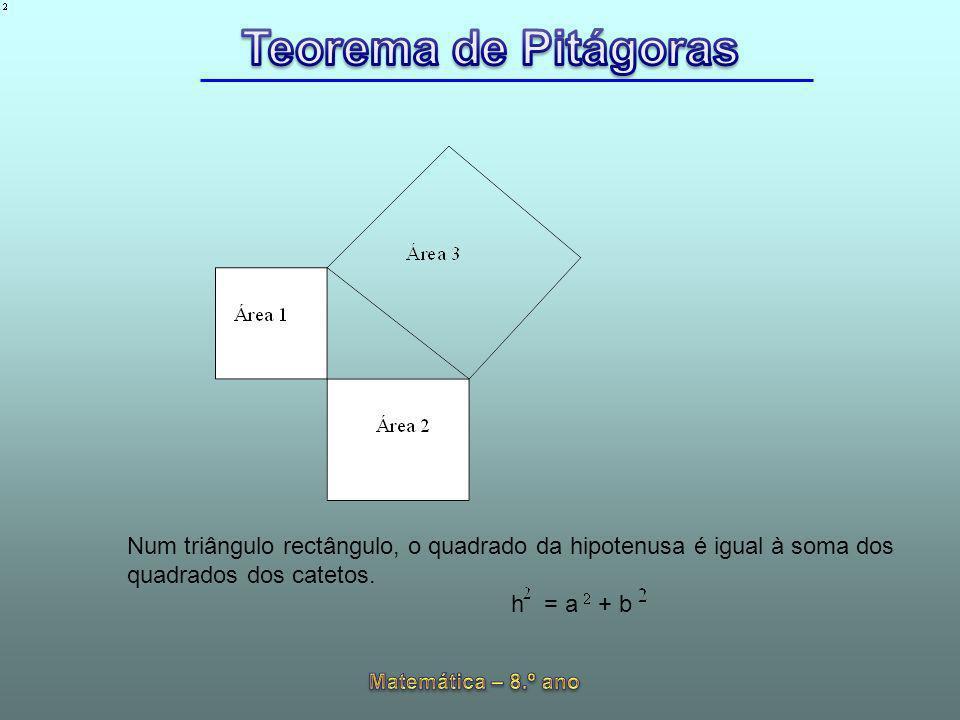 Num triângulo rectângulo, o quadrado da hipotenusa é igual à soma dos quadrados dos catetos.