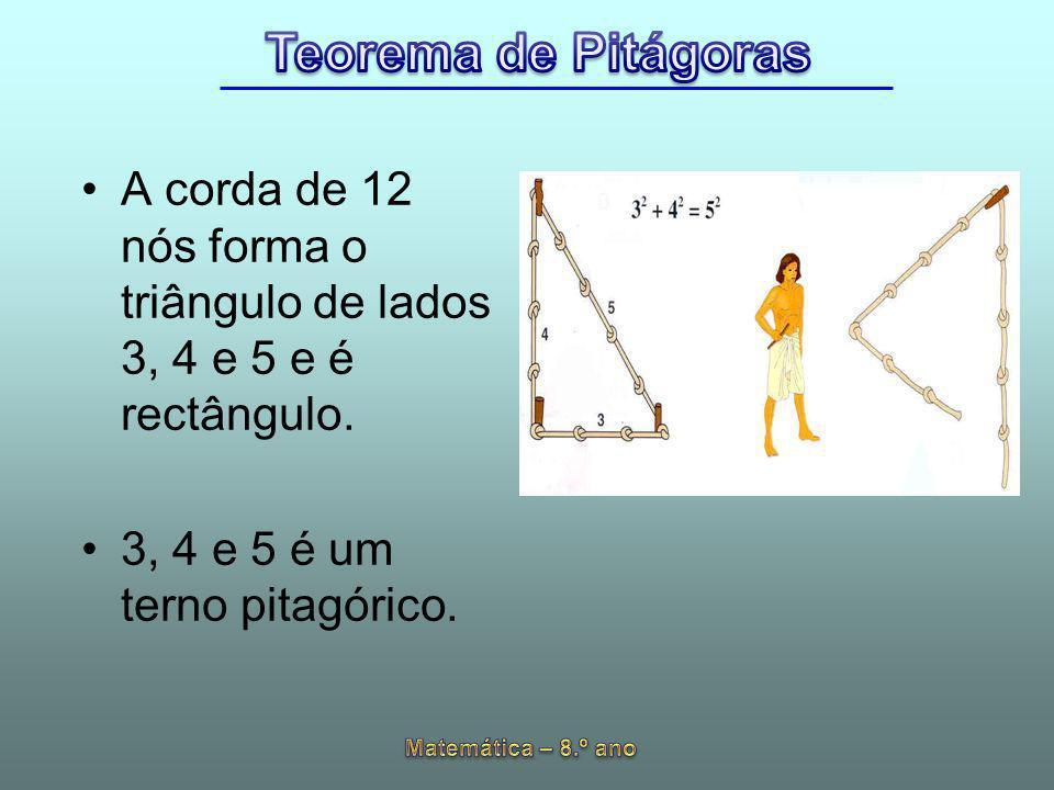 A corda de 12 nós forma o triângulo de lados 3, 4 e 5 e é rectângulo.