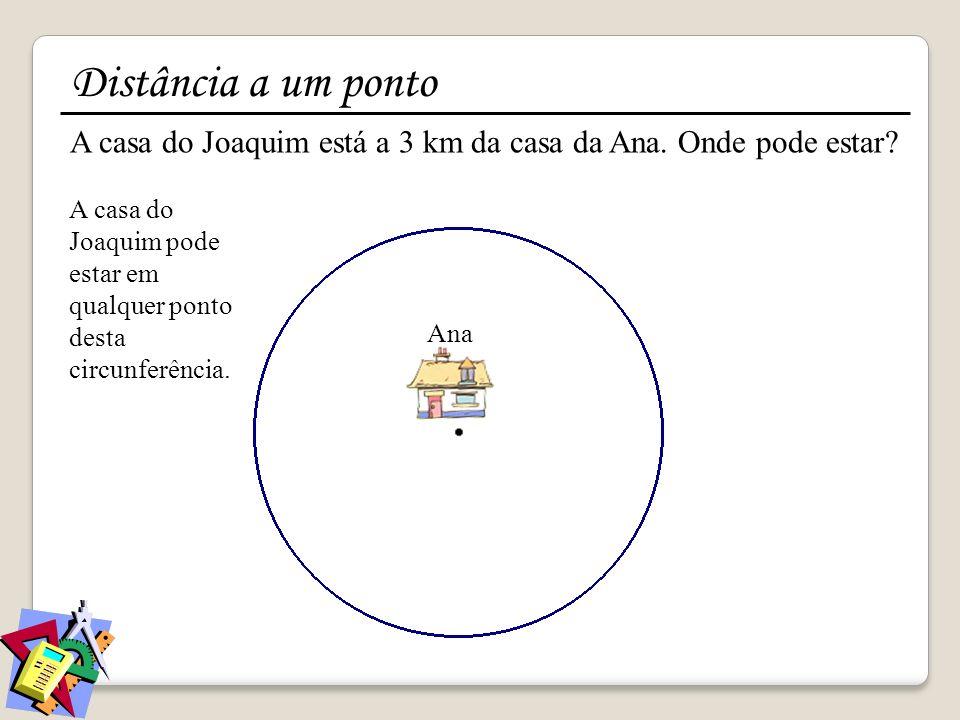 Distância a um ponto A casa do Joaquim está a 3 km da casa da Ana. Onde pode estar